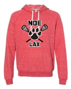 Noe Middle Lax Hooded Heather French Terry Red Jerzees 90MR