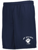 Our Lady of Lourdes gym shorts printed on left leg